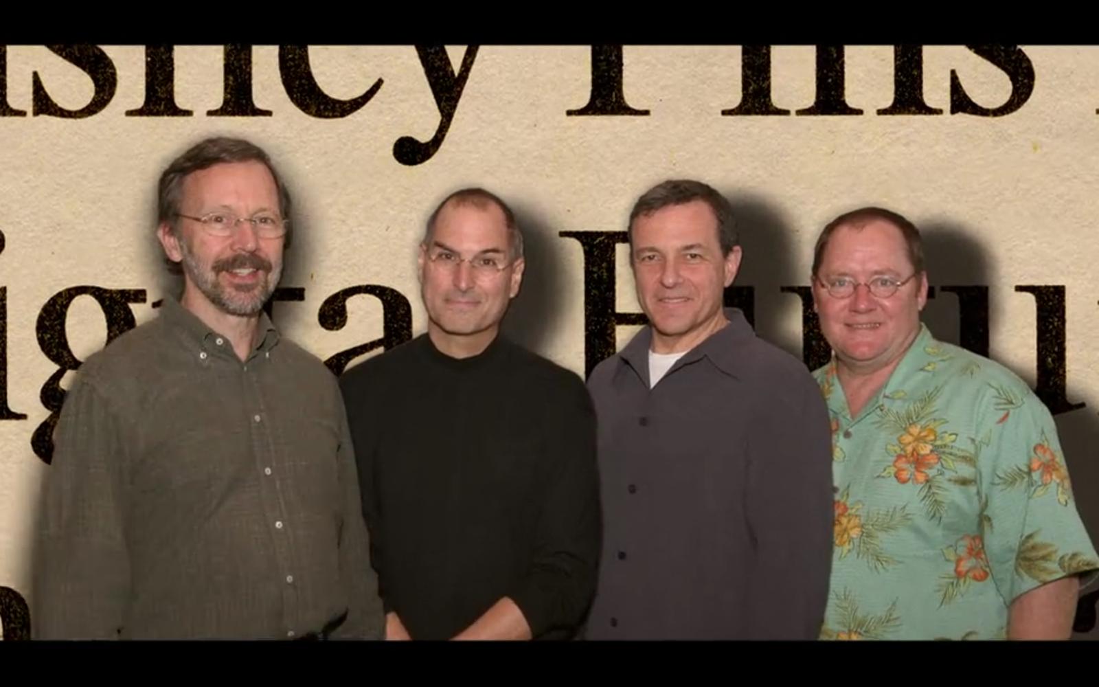 왼쪽부터 픽사의 Ed Catmull (기술), 스티브 잡스, 디즈니 CEO 밥 아이거, 그리고 픽사의 John Lasseter (감독)